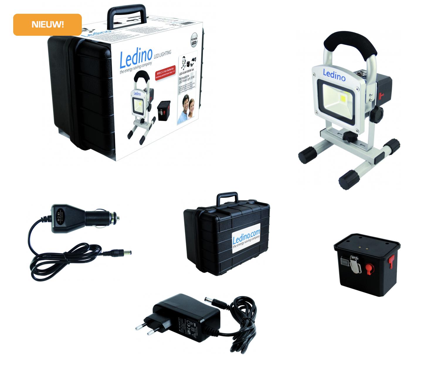 Bekend Ledino FLAH1005W-Set LED bouwlamp met extra accu in koffer 10W 5.2Ah UA04